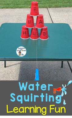 """Fun water squirting learning activity - students """"take aim"""" at letters, numbers, sight words, etc. https://lessons4littleones.com/2013/06/19/fun-summer-activity-squirt-gun-races/"""