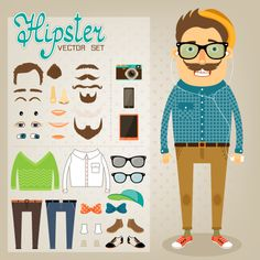 Hipster character Illustration. Free for web
