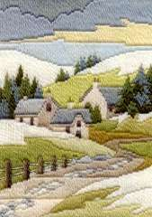 Winter Cottage, longstitch embroidery kit, by Derwentwater, UK