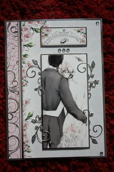 7x10 Wedding card made from a Hunkydory kit. Made for a relative.