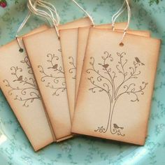 Little Birds in a Tree - Vintage Inspired Hang Tags via Etsy