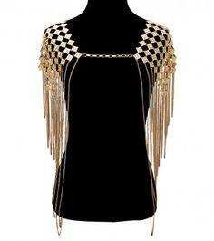 Egyptian Shoulder Body Chain Gold Tassel Metal Link Chains Celebrity Inspired Statement #fashion #bodychain #shoulderchain $49.00