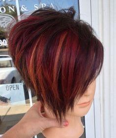 Short Hair With Layers, Short Hair Cuts For Women, Short Hair Styles, Funky Short Hair, Funky Bob, Hair Color Balayage, Hair Highlights, Red Bob Haircut, Haircut Style