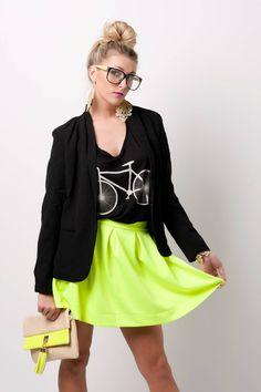 Neon Skater Skirt #swoonboutique