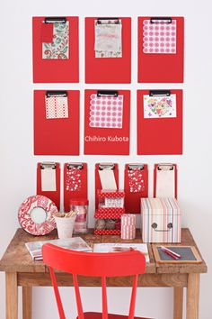 work desk {cute idea for clip boards}  I like the concept and arrangement but not the color. (MD)