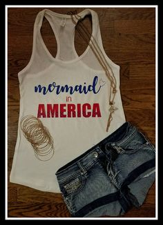 Mermaid in America Tank Top, Mermaid Summer Tank Top, Mermaid Shirt, Fourth of July Mermaid Tank Top, Mermaid Tank Top with Scales by pink2petalapparel. Explore more products on http://pink2petalapparel.etsy.com
