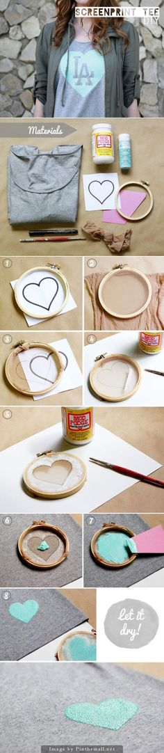 DIY Tutorial: How to Screen Print a T-Shirt at home using nylons, an embroidery hoop, modge podge, and all purpose acrylic paint.