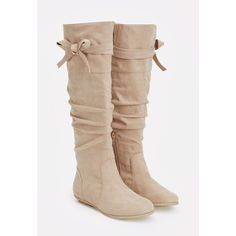 Justfab Flat Boots Omaira ($40) ❤ liked on Polyvore featuring shoes, boots, brown, knee high platform boots, brown wide calf boots, faux-fur boots, platform boots and justfab boots