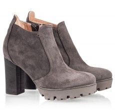 Grey suede leather high block heel ankle boots