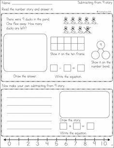 Word problems (number stories) using numbers 1 - 10 are the focus of this product. Students read the illustrated word problem, draw it, show it on the ten frame and number bond and then write the equation. Kindergarten Math Worksheets, Math Resources, Teaching Math, Math Strategies, Math Addition, Addition And Subtraction, Addition Worksheets, Fun Math, Math Games