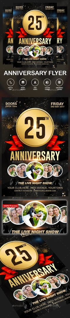 Anniversary Celebration Flyer Template | Flyer Template, Design