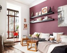 Digging the purple accent wall + the juxtaposition of textures and colors