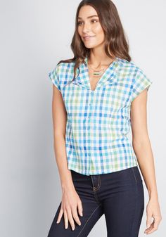 ModCloth x Emily and Fin Spied Delight Cotton Top in XXS - Cap Button Down Waist by Emily and Fin from ModCloth Work Blouse, Stylish Dresses, Fashion Dresses, Modcloth, Gingham, Cap Sleeves, Retro Fashion, Perfect Fit, Clothes For Women