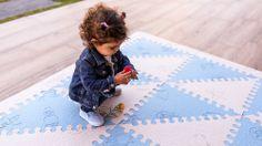 Alfombra puzzle bebé celeste/beige LÜ BABYMATS