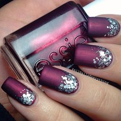 """Pairing a jewel toned polish with a glitter gradient makes for an easy holiday nail idea  The glitter is @essiepolish's """"set in stones"""" & the deep shimmery red is """"swing velvet"""", all topped with..."""