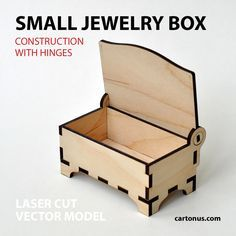 Wooden jewelry box with hinges. Small. Open by cartonus.deviantart.com on @DeviantArt