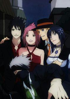 Sasuke, Sakura, Naruto, Hinata, and Kakashi. I feel like Kakashi is the fifth wheel. Naruto Kakashi, Anime Naruto, Naruto Uzumaki Shippuden, Gaara, Art Naruto, Tenten Y Neji, Naruto Team 7, Sarada Uchiha, Naruto Cute