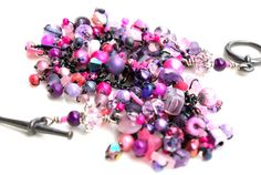 goth girl bracelet pink and purple beaded by UniqueNecks on Etsy, $48.00