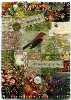 Embroidery combined with patchwork, a fabric collage featuring a bird. Crazy Quilt Stitches, Crazy Quilt Blocks, Crazy Quilting, Small Quilts, Mini Quilts, Quilting Projects, Sewing Projects, Quilting Ideas, Quilt Patterns
