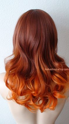 Auburn / Pastel orange Tri-color gradient wig. by kekeshop on Etsy