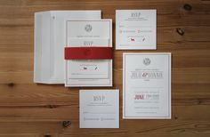 Custom Design Invitation Suite.  Letterpress Printed on 100% Cotton Saunders Stock with Colorplan Belly band to secure.