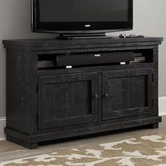 "Willow 54"" Entertainment Console in Distressed Black | Nebraska Furniture Mart"