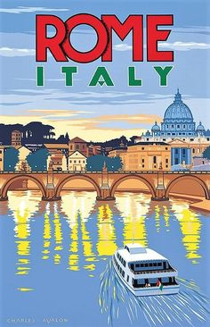 City Poster, Poster Art, Art Deco Posters, Poster Series, Vintage Italian Posters, Vintage Travel Posters, Rome Travel, Italy Travel, Travel Ads