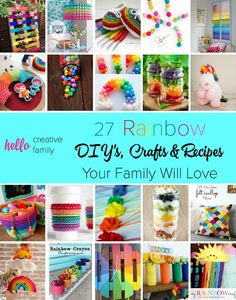 Rainbows always put a big smile on my face and make me happy. This is a great collection of beautiful rainbow crafts, diy projects and recipes that the whole family will love.