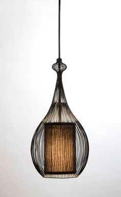 Paavo Pendant: Black with Black Fabric Shade - contemporary - pendant lighting - san francisco - Shine Labs, LLC. Interior Lighting, Home Lighting, Lighting Design, Pendant Lamp, Pendant Lighting, Ceiling Lamp, Ceiling Lights, Edison Lampe, Metal Design