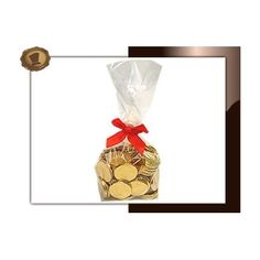 Zakje Chocolade munten. 250 gram. Smaak Melkchocolade. Verpakt in Transparant blokzakje met clipstrik. Te bestellen vanaf 100 stuks . #chocolade  #muntjes
