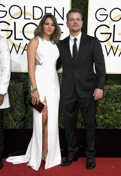 Luciana Barroso and actor Matt Damon attend the 74th Annual Golden Globe Awards at The Beverly Hilton Hotel on January 8, 2017 in Beverly Hills, California.