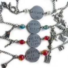 These book inspired bracelets bring the magic of your favorite wizarding school to your wrist.  Each design features charms attached to a stainless steel chain.    ▼OPTIONS:  ALWAYS:  The hand stamped aluminum tag is surrounded by white glass beading.  The stainless steel chain hangs six charms: a wand, doe, cauldron, book, snake and castle.    THE BOY WHO LIVED: The hand stamped aluminum tag is surrounded by red glass beading.  The stainless steel chain hangs six charms: an owl, envelope…
