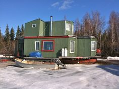 Yellowknife, NT Canada Houseboat in winter