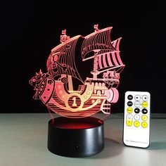 3D Sailing Sea Ship Boat Night Light RGB Changeable Mood Lamp LED Light AC5V USB. 3D Sailing Sea Ship Boat Night Light RGB Changeable Mood Lamp LED Light AC5V USB Decorative Table Lamp Touch or Remote Control 3D illusionShape Night Light Home Decoration 7 Color-Changing Atmosphere Lamp With USB Charger  Hot selling 1:Crazy popular special for young people; Hot selling 2:Amazing Innovative 3D illusion night lamp; Hot selling 3:Fit for Hotel/Room/Coffee bar/bar/KTV and so...