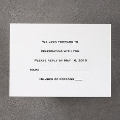 Bright White Respond Card and Envelope