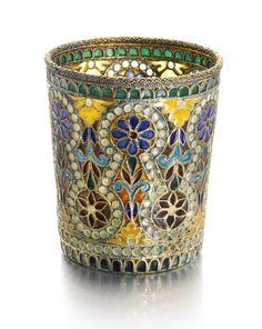 A silver-gilt and plique-à-jour enamel vodka beaker, late 19th Century | Lot | Sotheby's