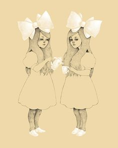 victorian girls tea party drawing.