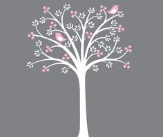 White Tree Pink Flowers Wall Decal by onehipstickerchic on Etsy, $74.95