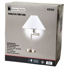 Sing Arm Table Lamp in Brushed Nickel and White Fabric Shade