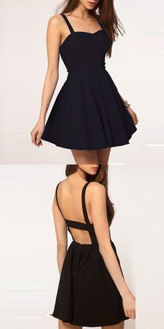 Simple A-Line Spaghetti Straps Backless Black Satin Short Homecoming Dress