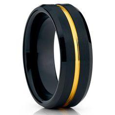 Black Wedding Band - Black Tungsten Ring - Yellow Gold Groove - 8mm - Men's