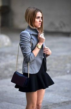 mini dress and gray blazer