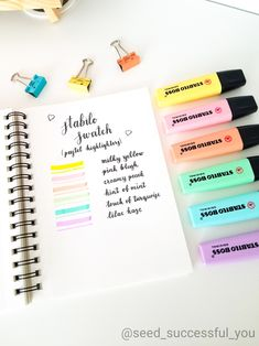 Stay organized, productive, inspired and HAPPY! Start a bullet journal & learn how to get organized! Bullet Journal And Diary, Bullet Journal 2020, Bullet Journal Aesthetic, Bullet Journal Inspiration, Stabilo Pastel Highlighter, Stabilo Boss Pastel, Back To School Stationery, School Suplies, Cute Stationery
