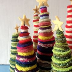 Kit to make Three Christmas Trees with yellow by FeltedWoolies, $20.00