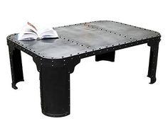 Table basse BRIGOR acier riveté, noir satiné - L120