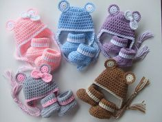Crochet Baby Hat with Ears and Cozy Warm Booties, Size 0-3 Months, You pick color, Ready to Ship on Etsy, $22.00
