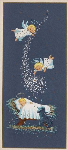 Vintage Christmas Card Greeting-Angels Over Baby Jesus-Stars-Gold Accents Vintage Christmas Images, Old Christmas, Old Fashioned Christmas, Christmas Scenes, Christmas Nativity, Retro Christmas, Vintage Holiday, Christmas Pictures, Christmas Angels