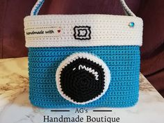 Handmade crochet camera bag. Crochet Camera, Straw Bag, Coin Purse, Boutique, Wallet, Handmade, Bags, Handbags, Hand Made