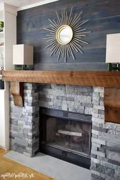 Image result for fireplace with wood surround Airstone Fireplace, Faux Stone Fireplaces, Stone Fireplace Makeover, Rustic Fireplaces, Home Fireplace, Fireplace Surrounds, Fireplace Ideas, Fireplace Makeovers, Farmhouse Fireplace