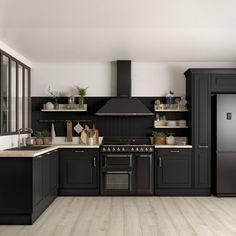 Cuisine noire Cuisine Plus Kitchen Cabinet Design, Interior Design Kitchen, Kitchen Cabinets, Kitchen Faucets, Black Kitchens, Cool Kitchens, Kitchen Black, Diy Kitchen Decor, Kitchen Dining